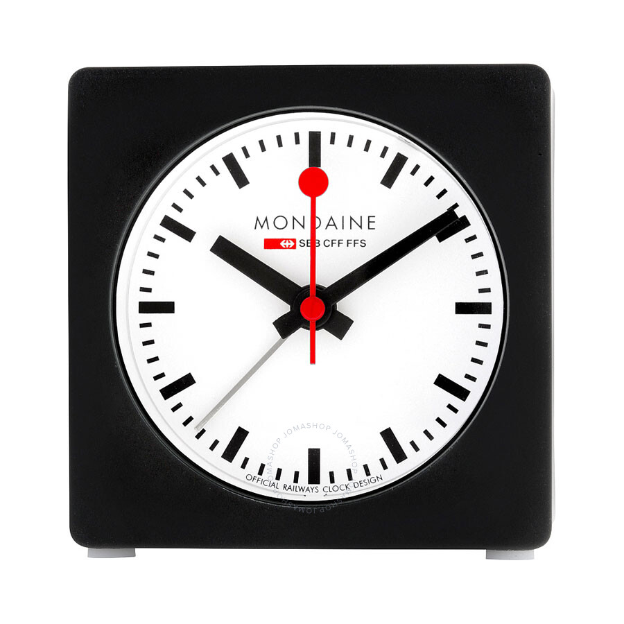 Mondaine White Dial Black Tone Unisex Desk Clock