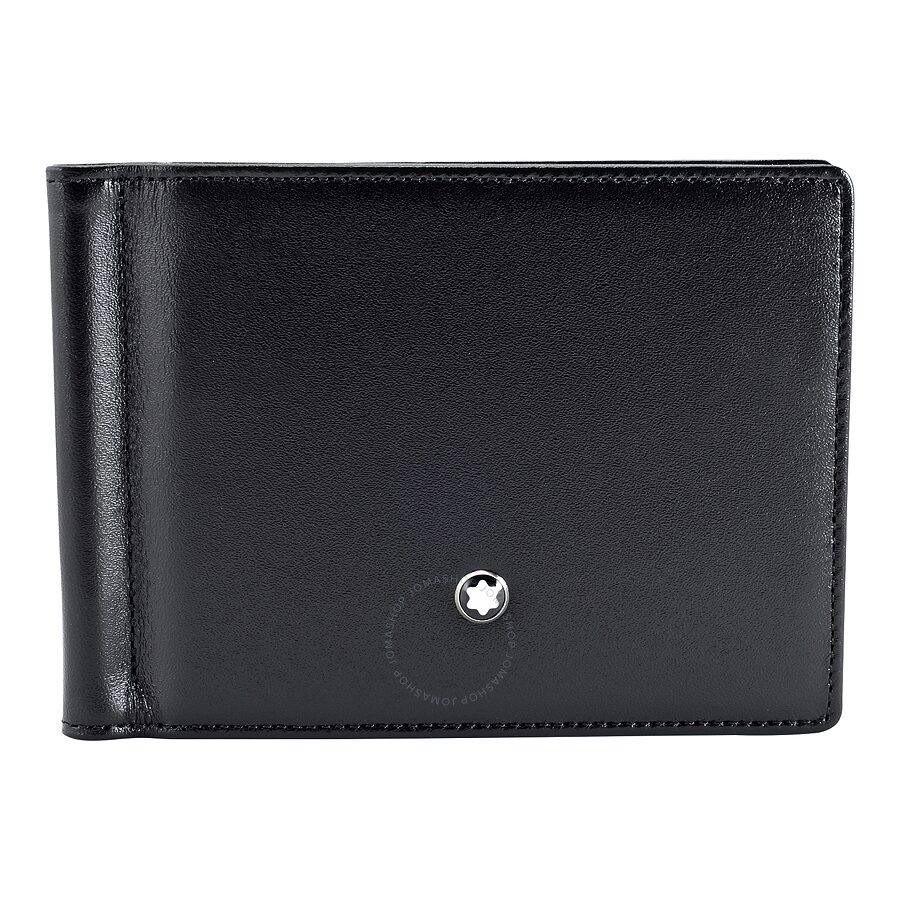 montblanc male montblanc meisterstuck 6 cc mens leather wallet with money clip