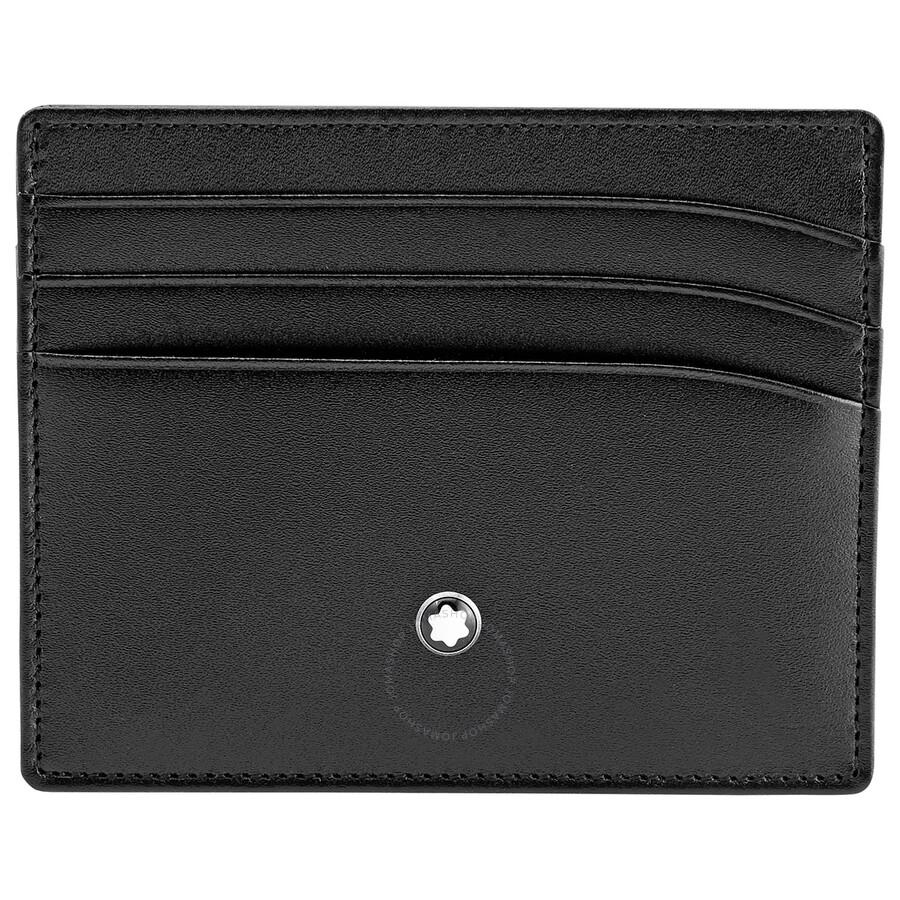 montblanc meisterstuck selection black leather pocket credit card holder 106653 - Mont Blanc Card Holder