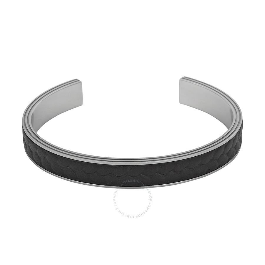 montblanc monograin steel and leather 63 bangle bracelet 11139963 montblanc mens jewelry. Black Bedroom Furniture Sets. Home Design Ideas