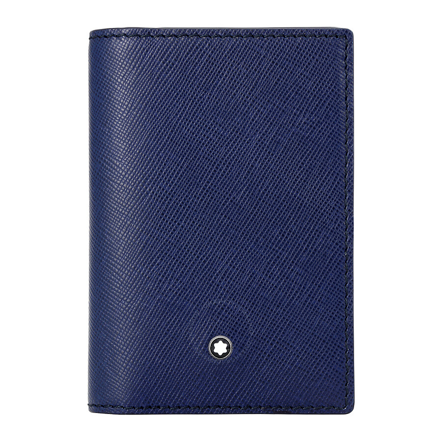 Montblanc sartorial leather business card holder indigo colourmoves