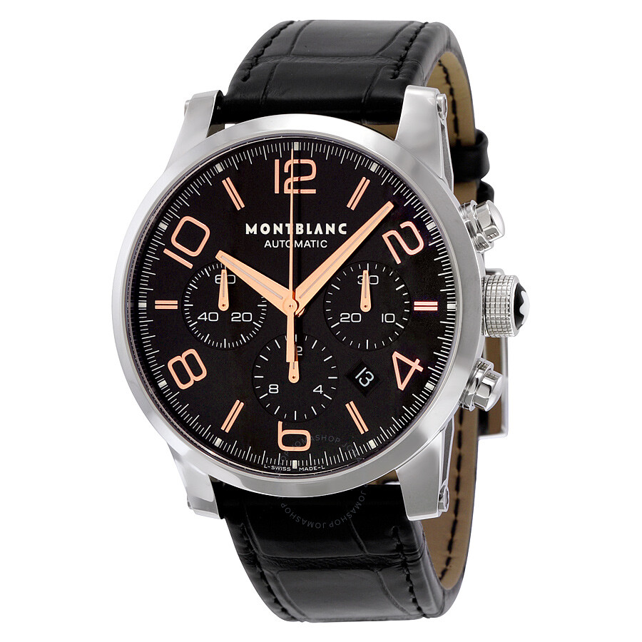 watch bucherer dial mens black steel montblanc automatic mount silver watches stainless brands heritage