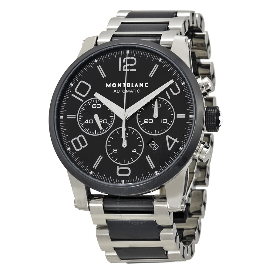 Montblanc timewalker steel and black ceramic chronograph men 39 s watch 103094 timewalker for Montblanc watches