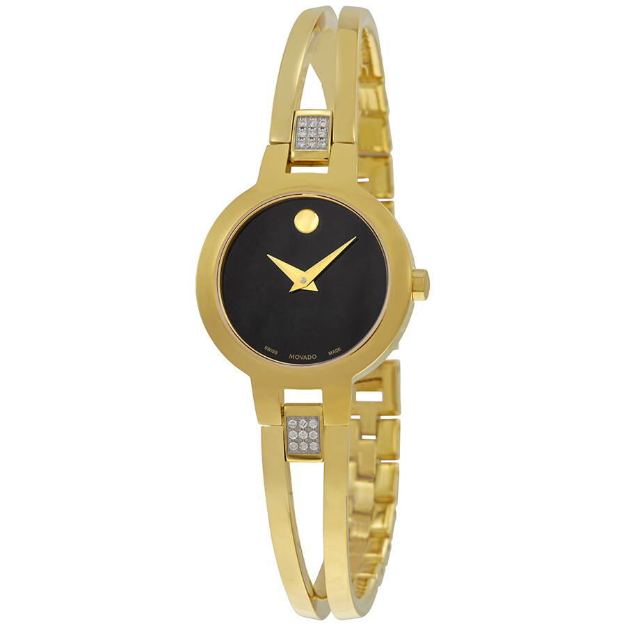 Movado Amorosa Black Dial Ladies Watch 0607155