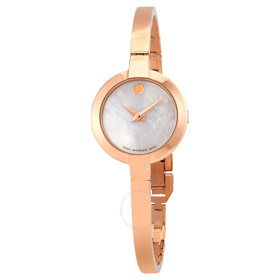 Movado Bela White Mother of Pearl Dial Ladies Rose Gold Tone Bangle Watch 06..