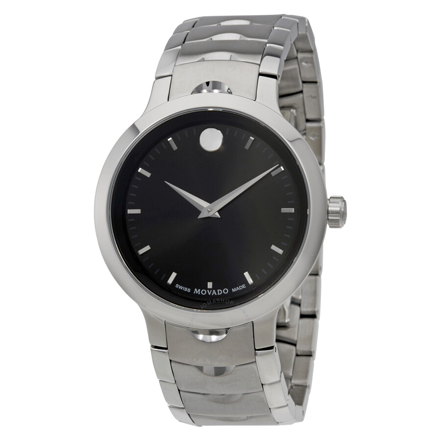 men movado stainless blue steel watches luno watch mens s dial