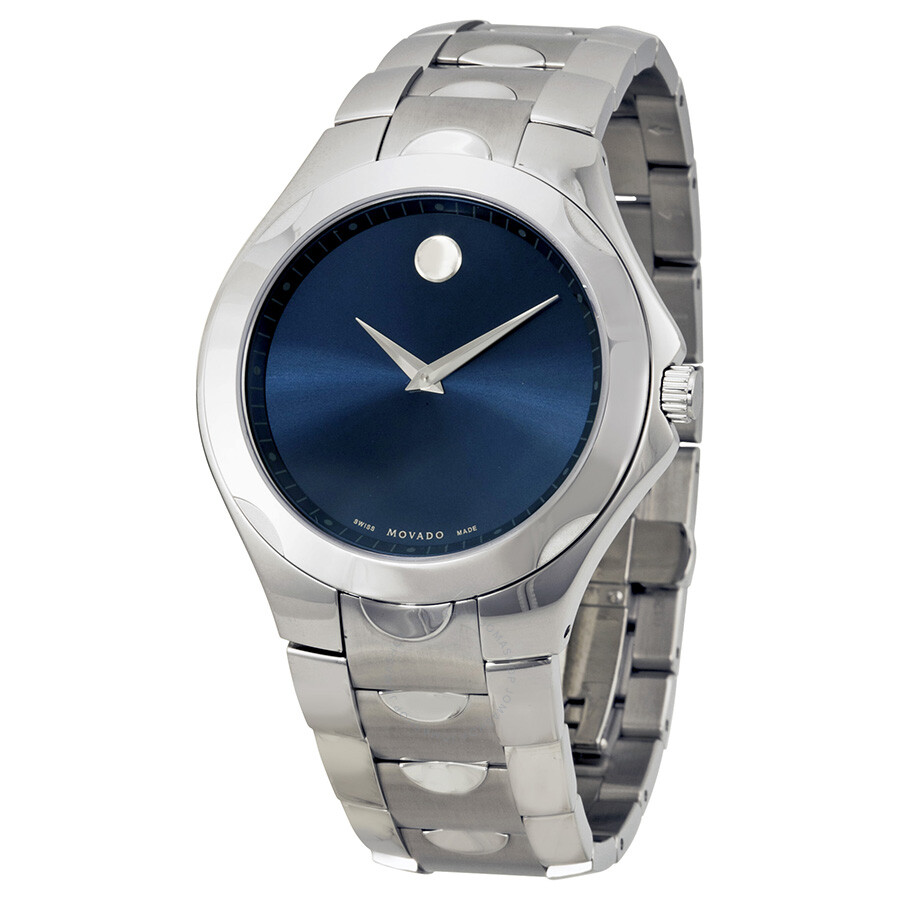 product luno watch swiss made steel luna mens s bright men stainless movado watches