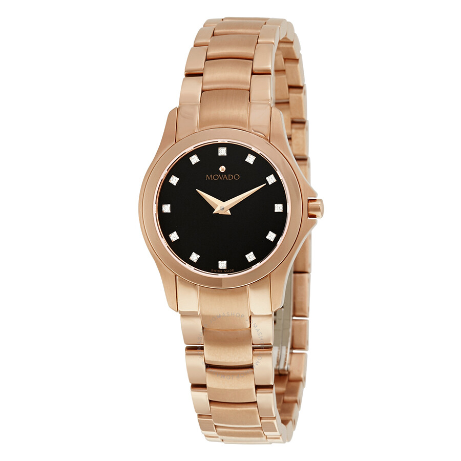 Movado masion black dial diamond ladies watch 0607076 masino movado watches jomashop for Diamond dial watch