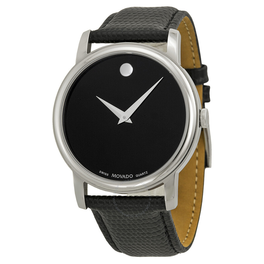 Movado museum black dial black leather strap men 39 s watch 2100002 museum movado watches for Leather strap watches