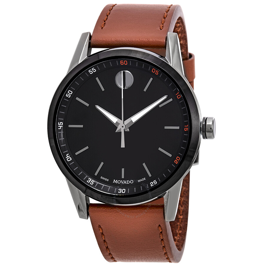 Movado Museum Black Dial Cognac Leather Mens Watch 0607224