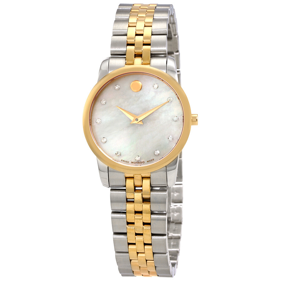 Movado Museum Classic White Mother of Pearl Dial Ladies Watch 0607077