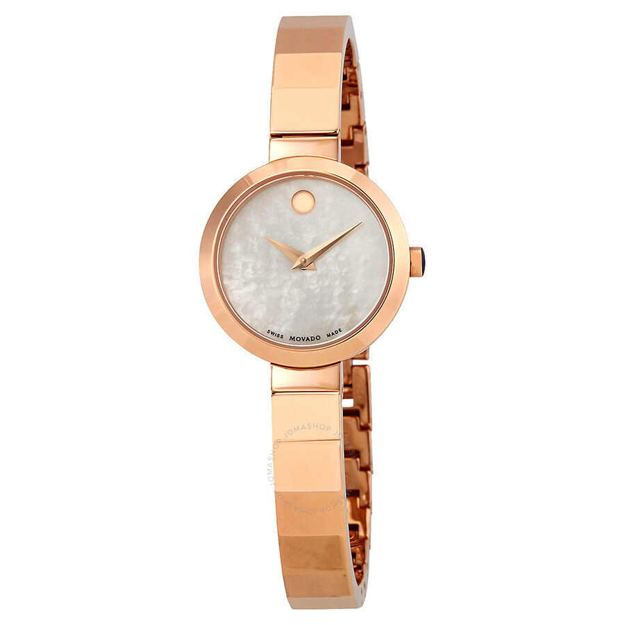 Movado Novella White Mother of Pearl Dial Ladies Bangle Watch 0607112