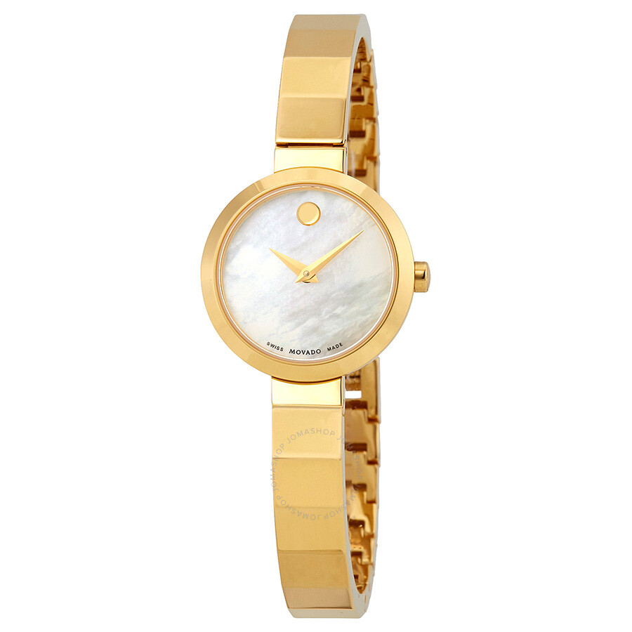 Movado Novella White Mother of Pearl Dial Ladies Yellow Gold Tone Watch 0607..
