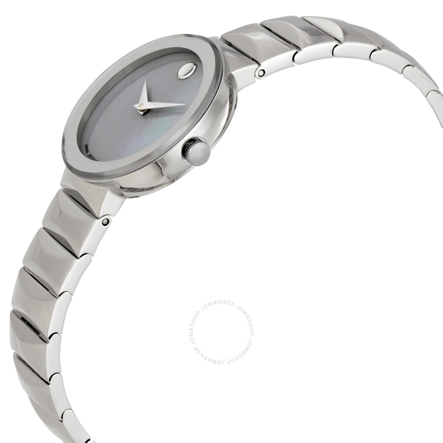 pearl grey dial of ladies movado mother watch sapphire