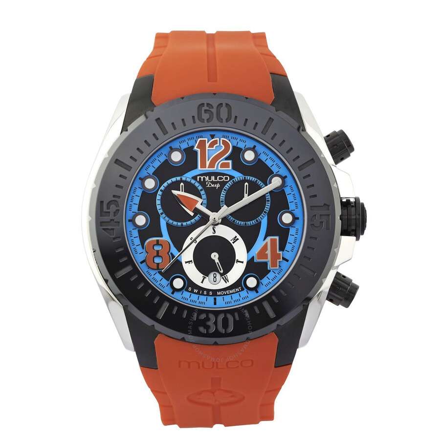 Mulco Deep Blue Dial Orange Silicone Unisex Watch MW182197614