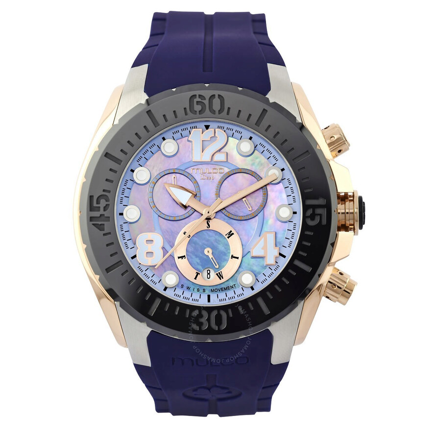 Mulco Deep Blue Mother of Pearl Blue Silicone Unisex Watch MW182197045