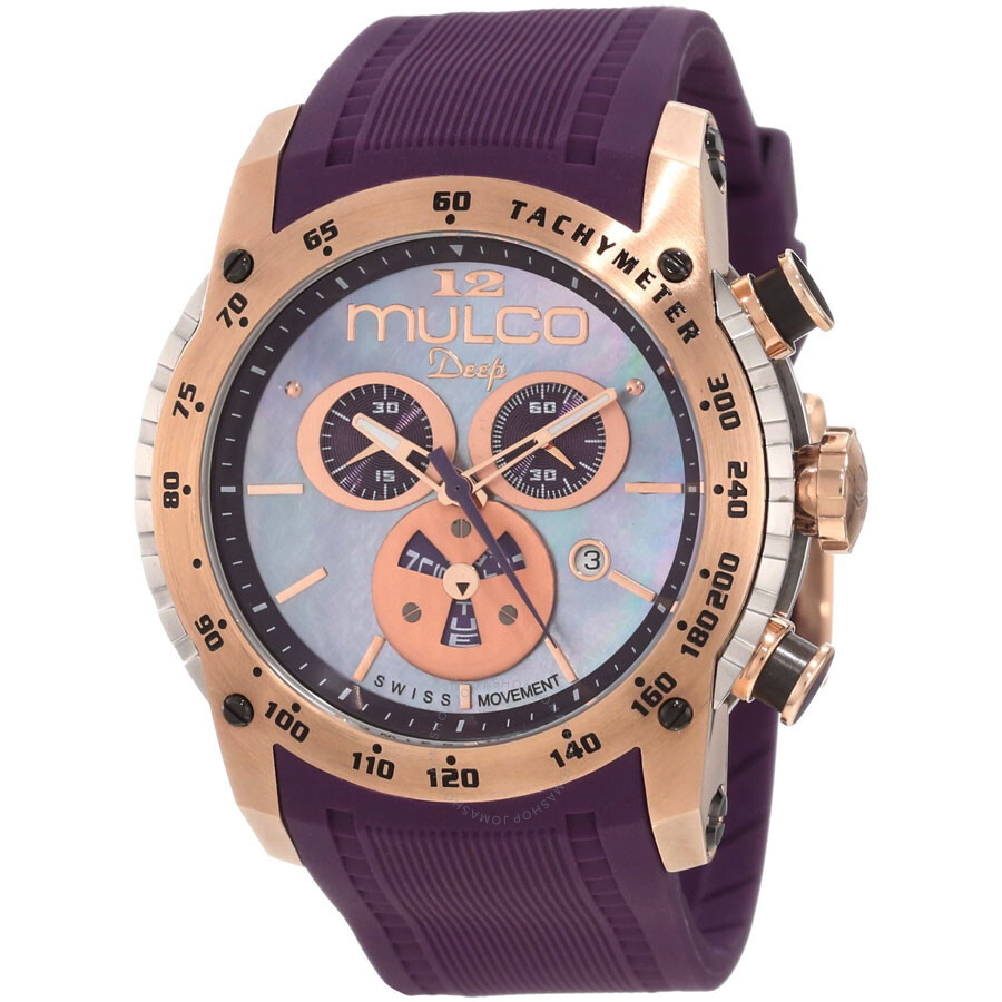 Mulco Deep Blue Mother of Pearl Dial Chronograph Purple Silicone Unisex Watch MW129878076