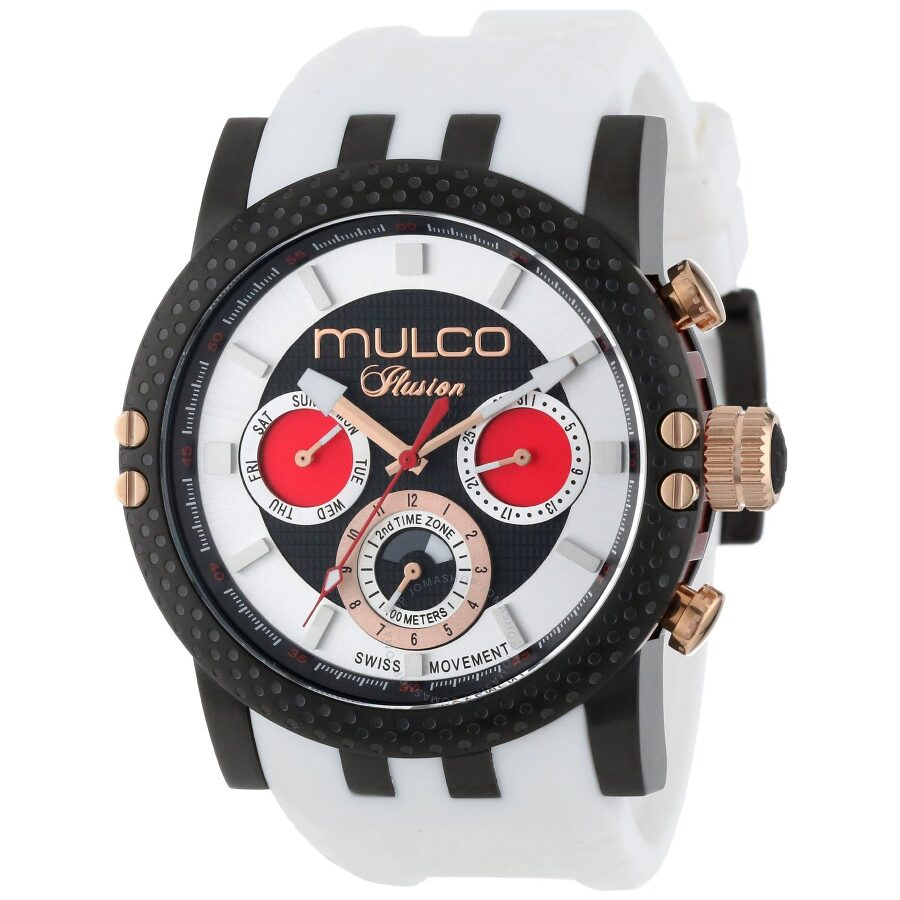 Mulco Ilusion Black and Silver Dial White Silicone Mens Watch MW311169015