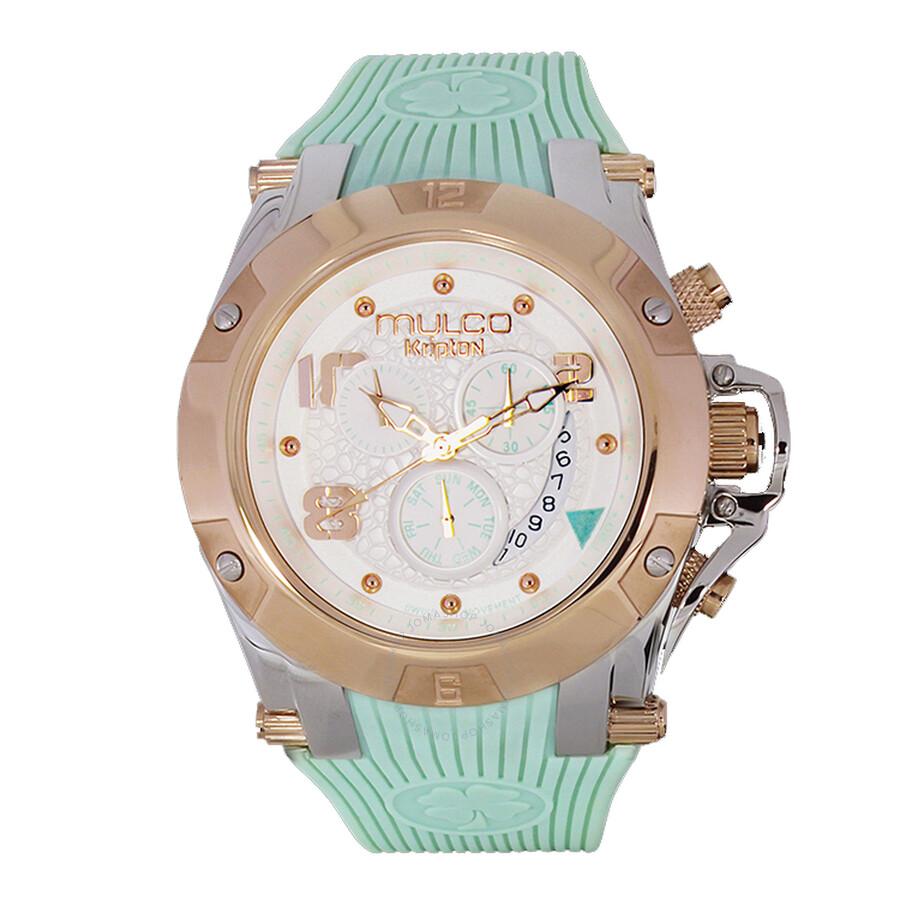 Mulco Kripton Chronograph White Dial Turquoise Silicone Mens Watch MW52029423