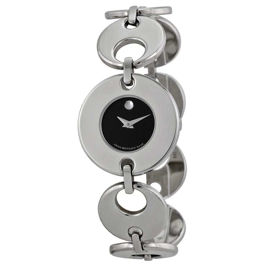 Open Box - Movado Buleto Black Dial Stainless Steel Ladies Watch 0605918