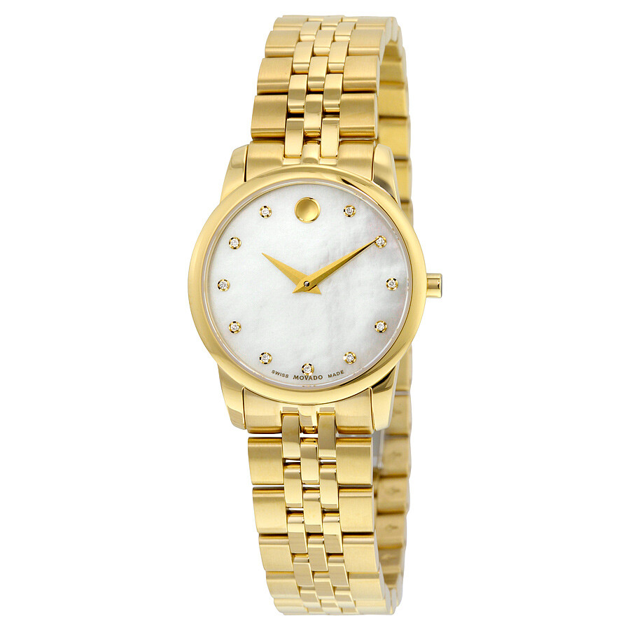 Open Box - Movado Museum Classic Mother of Pearl Diamond Dial Ladies Watch 0606998