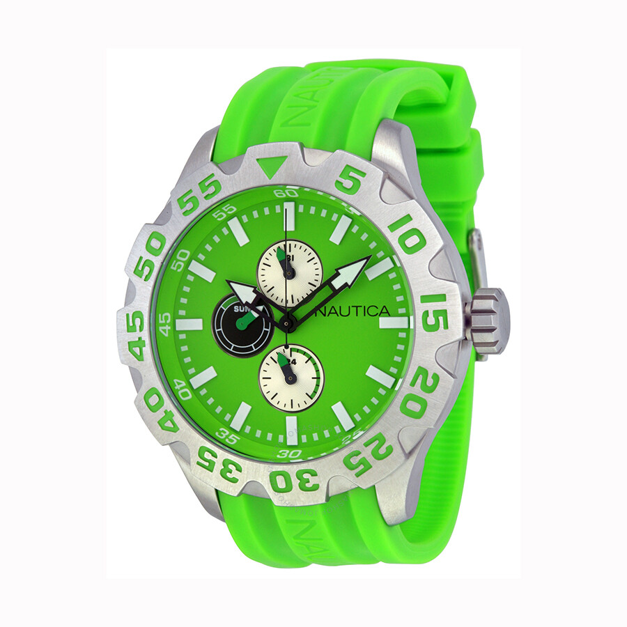 Nautica BFD 100 Multi-Function Green Dial Green Resin Mens Watch N15580G