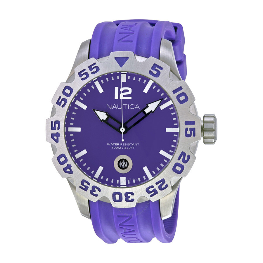 Nautica BFD 100 Purple Dial Resin Mens Watch N14606G