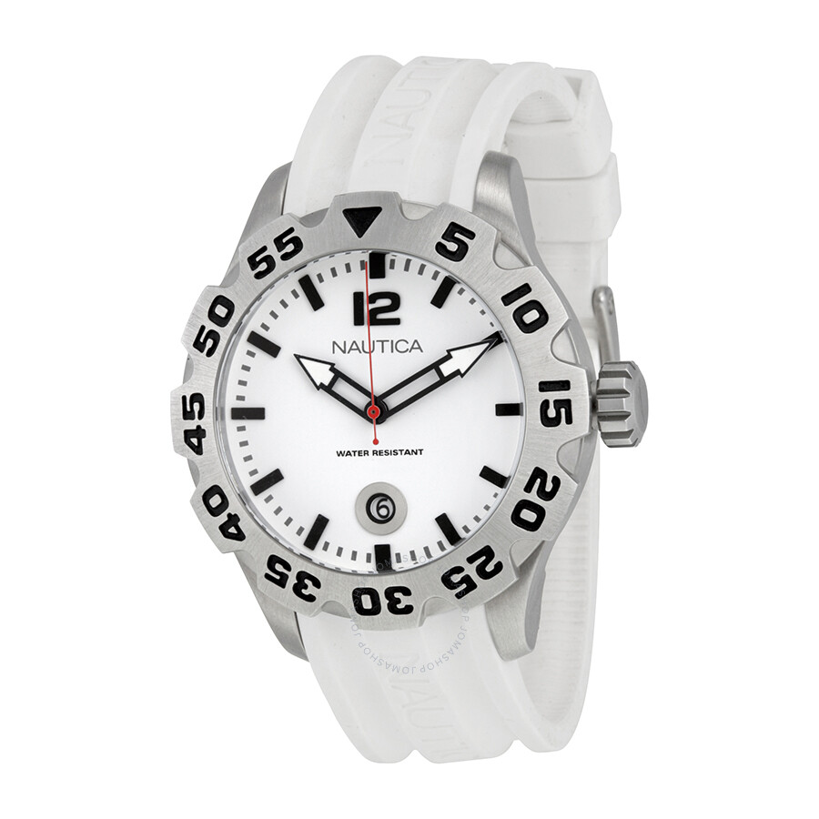 Nautica BFD 100 White Dial Silicone Mens Watch N14608G