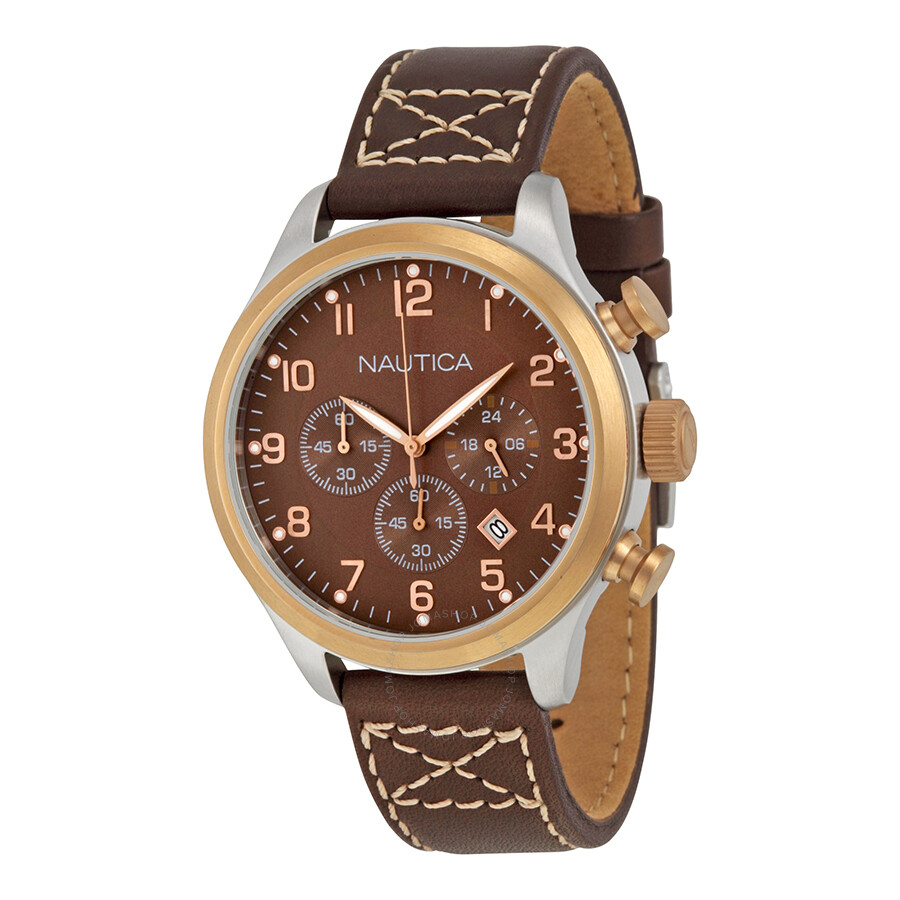 Nautica Brown Dial Chronograph Brown Leather Mens Watch N17649G