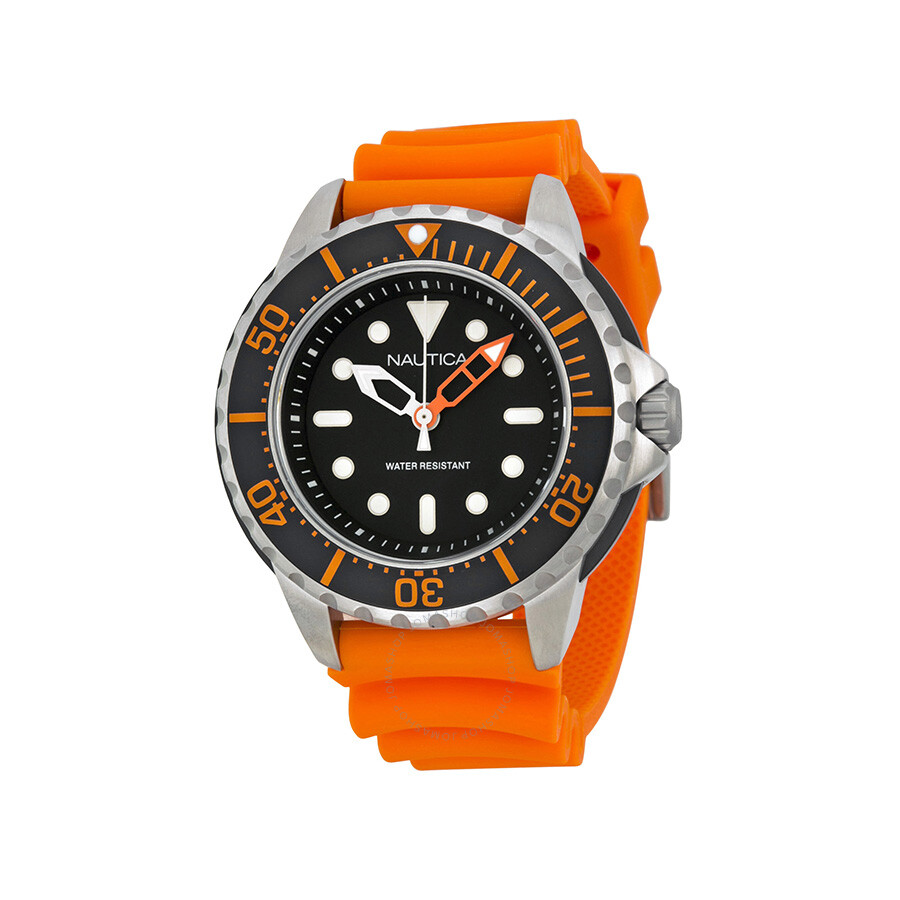 Nautica Mega Pro Diver NMX 650 Black Dial Orange Resin Strap Mens Watch N18633G
