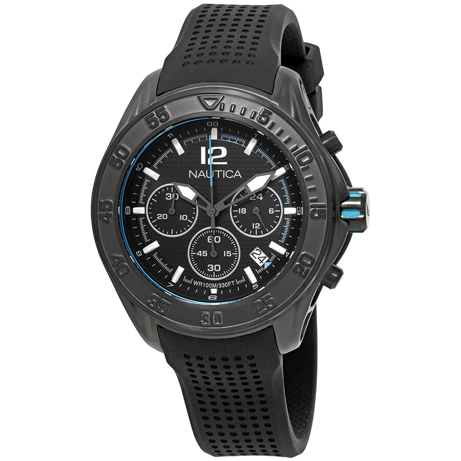 Nautica NMX 1600 Chronograph Black Dial Mens Watch NAD25000G