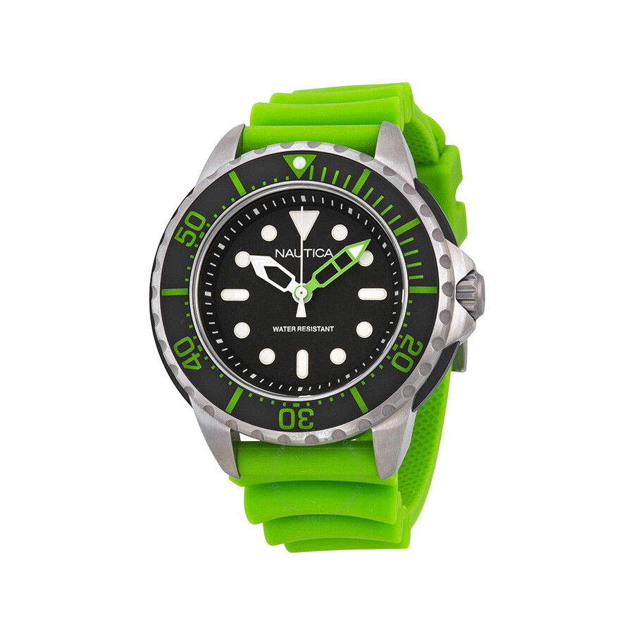 Nautica NMX 650 Black Dial Green Resin Strap Mens Quartz Watch N18634G