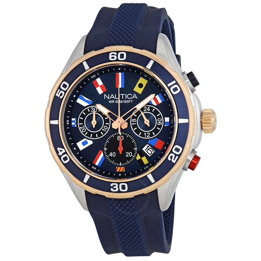 Nautica NST 12 Chronograph Navy Black Dial Mens Watch NAD16557G