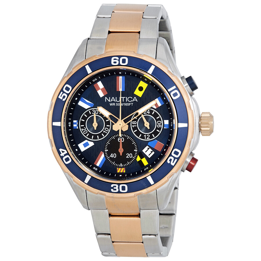 Nautica NST 12 Chronograph Navy Black Dial Mens Watch NAD19560G