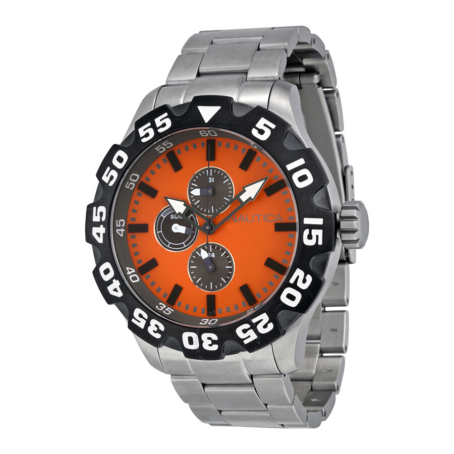 Nautica Orange Dial Stainless Steel Mens Watch N21011G