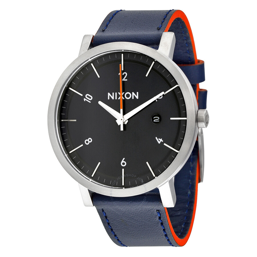 Nixon Rollo Black Dial Blue Leather Mens Watch A945863