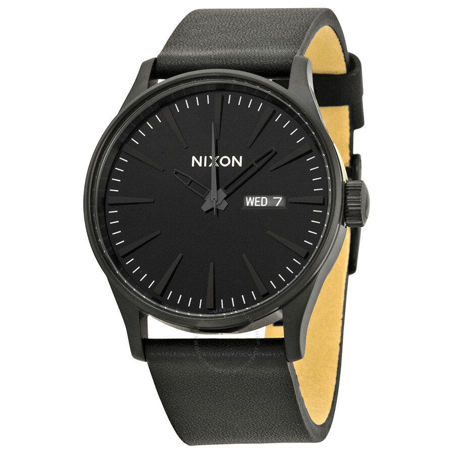 us and s premium sentry black leather watches nixon en gold men
