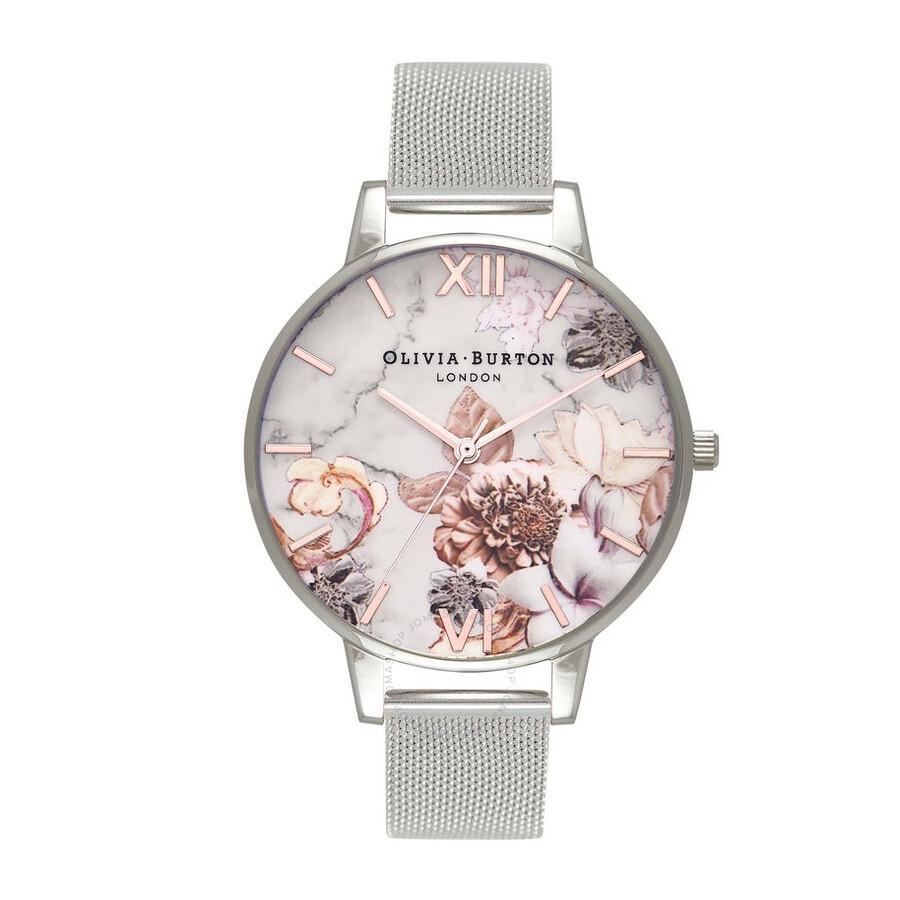 Olivia Burton Marble Floral White Dial Ladies Watch OB16CS10