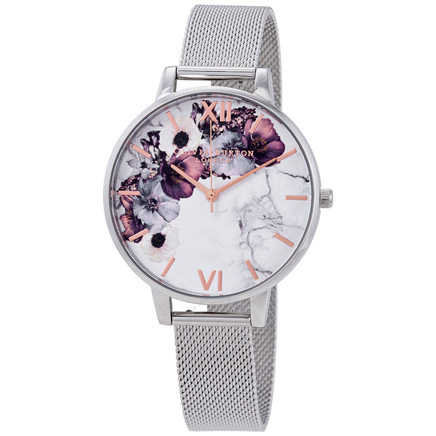 Olivia Burton Marble Floral White Dial Ladies Watch OB16MF09