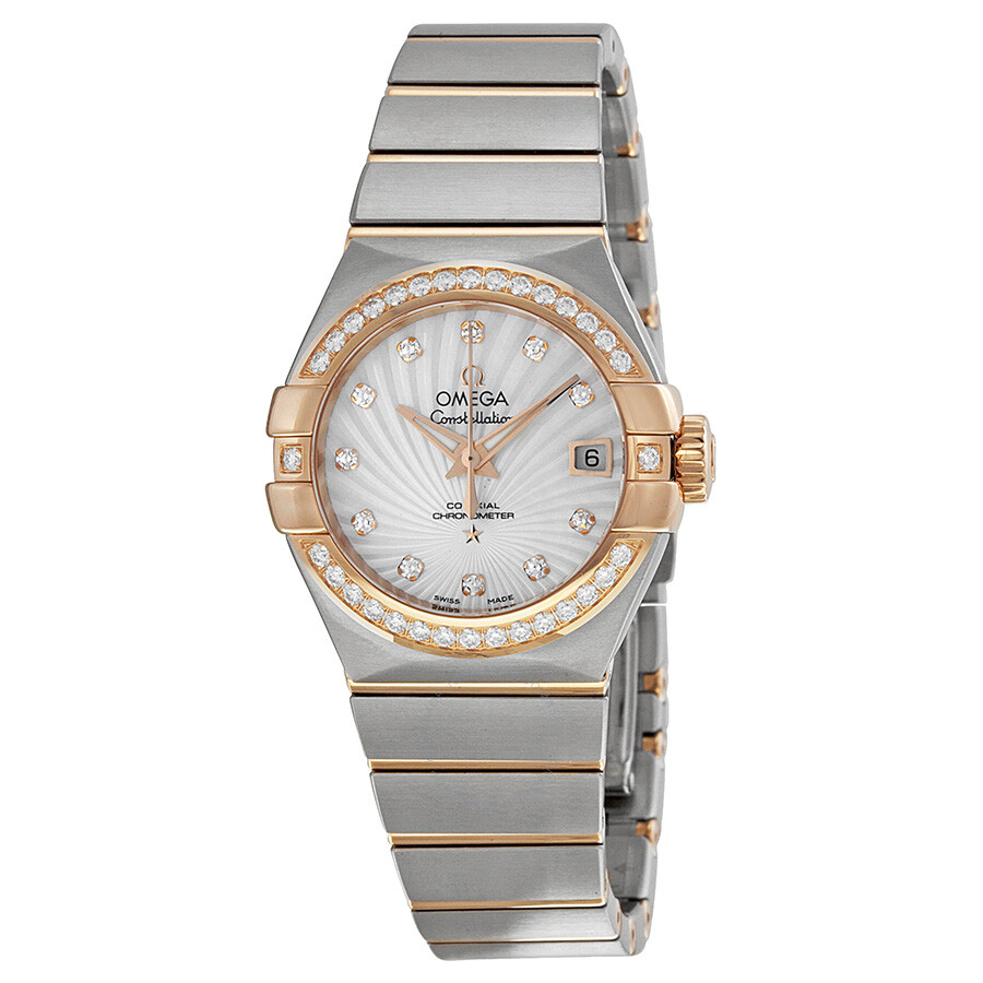 Omega constellation mother of pearl diamond dial ladies watch 12325272055001 constellation for Diamond dial watch