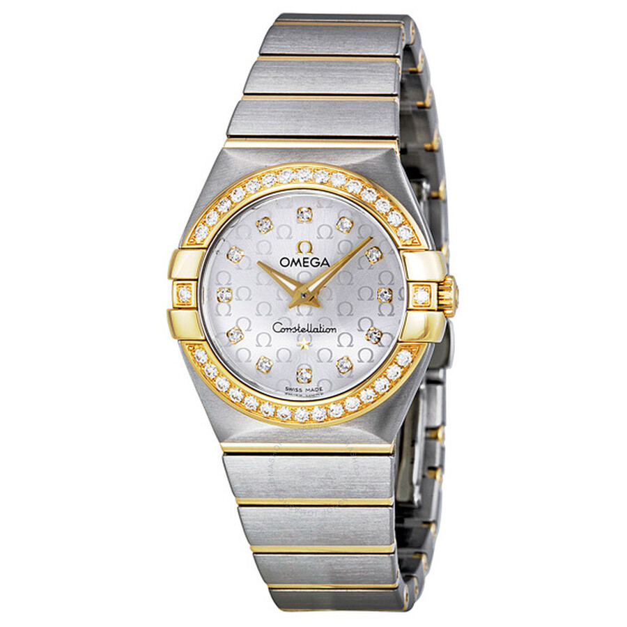 Omega Constellation Silver Diamond Brushed Solid 18kt Gold with Steel Ladies Watch 12325276052002