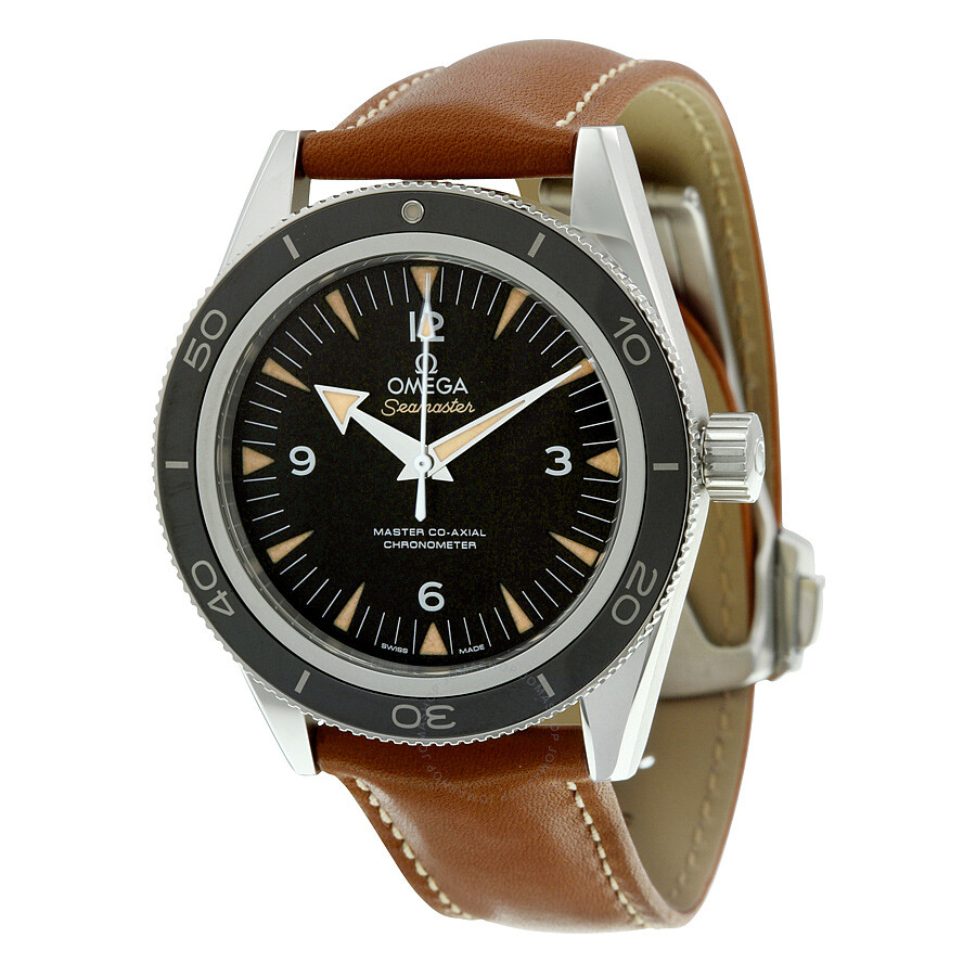 Omega Seamaster 300 Automatic Black Dial Brown Leather Mens Watch 233.32.41.21.01.002