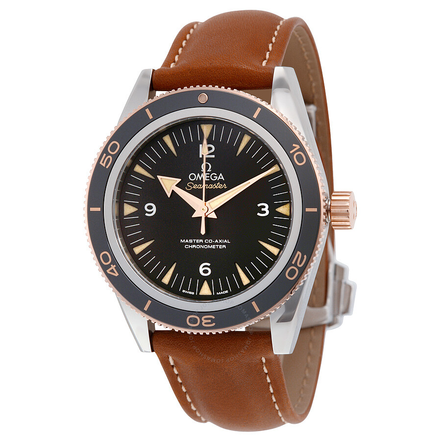Omega seamaster 300 black dial brown leather men 39 s watch seamaster omega for Omega watch seamaster