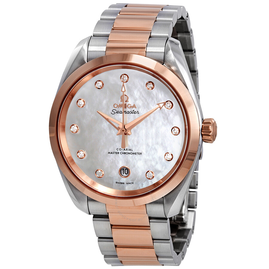 Omega Seamaster Aqua Terra Mother of Pearl Diamond Dial Ladies Watch 220.20...