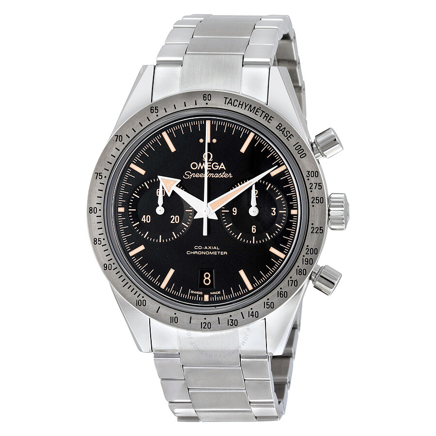Omega speedmaster 57 chronograph automatic black dial stainless steel men 39 s watch 33110425101002 for Omega watch speedmaster