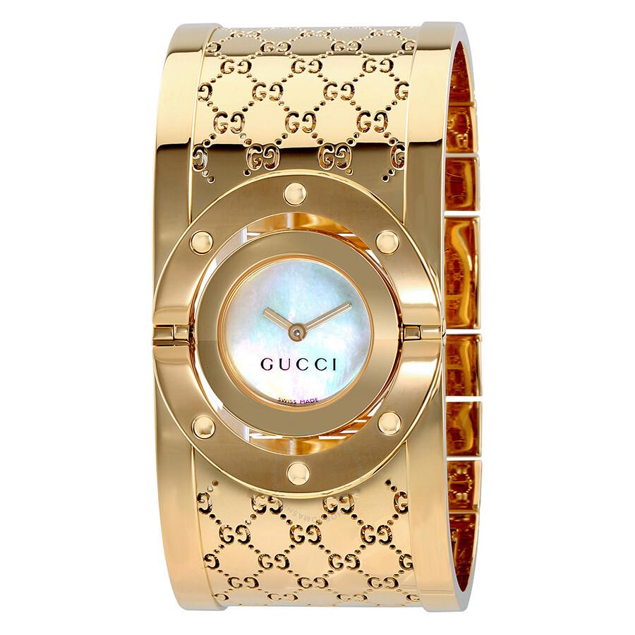 Open Box - Gucci Twirl G-Tone White Dial Ladies Bangle Watch YA112440