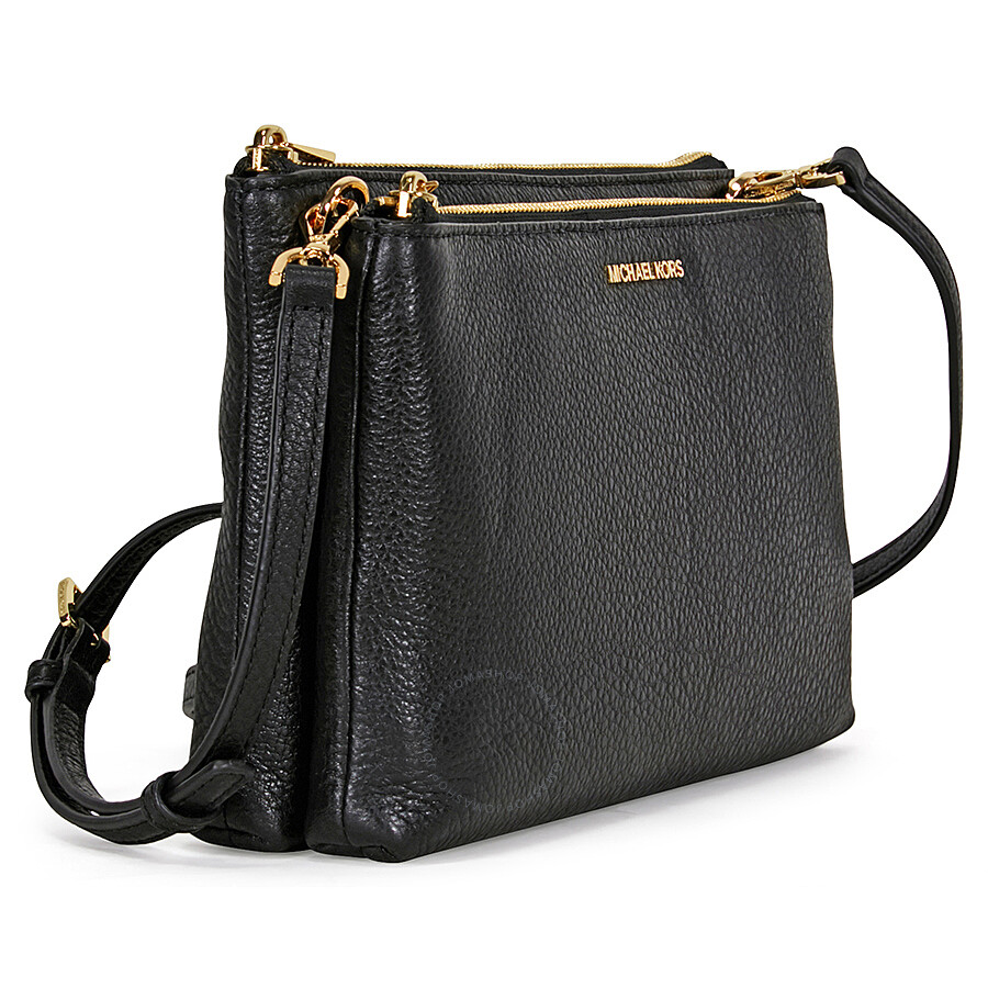 Michael Kors Adele Double-Zip Crossbody (Black) Cross Body Handbags uvanoT