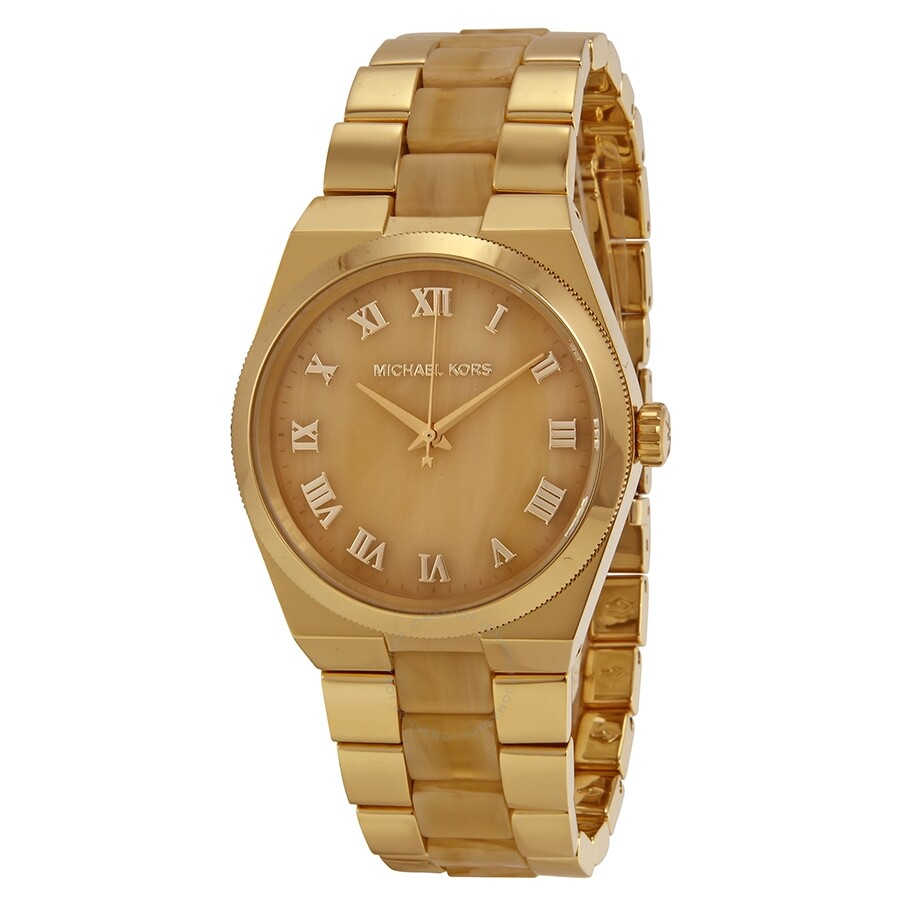 Open Box - Michael Kors Channing Horn Brown- Gold Dial Quartz Ladies Watch MK6152