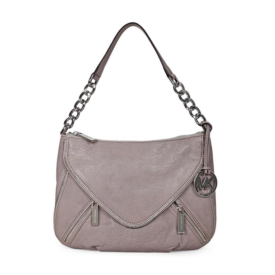 0806a94c92 ... closeout open box michael kors odette zip medium convertible shoulder  bag pearl grey 1f6bb 8ff86