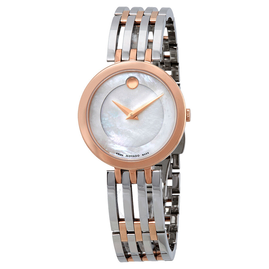 Open Box - Movado Esperanza White Mother of Pearl Dial Ladies Watch 0607114